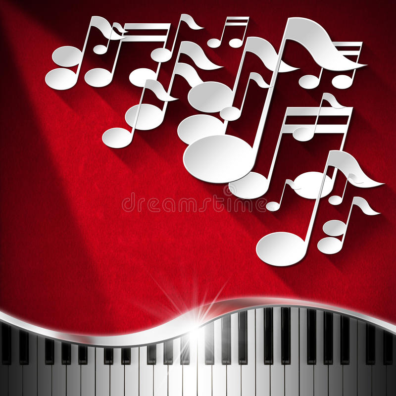 Piano de la música y fondo de la nota - terciopelo rojo libre illustration