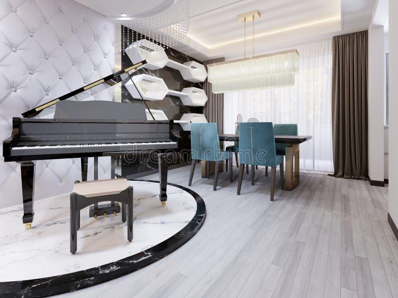 Piano de lujo negro en un podio de mármol, en un apartamento-estudio con una pared acolchada diseñador de cuero Sala de estar mod ilustración del vector