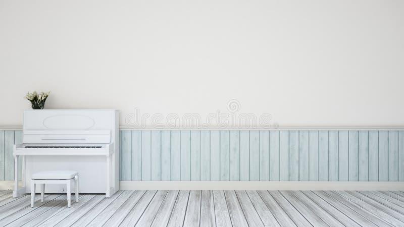 Piano in de muurdecoratie van de muziekruimte - 3D Illustratie stock illustratie