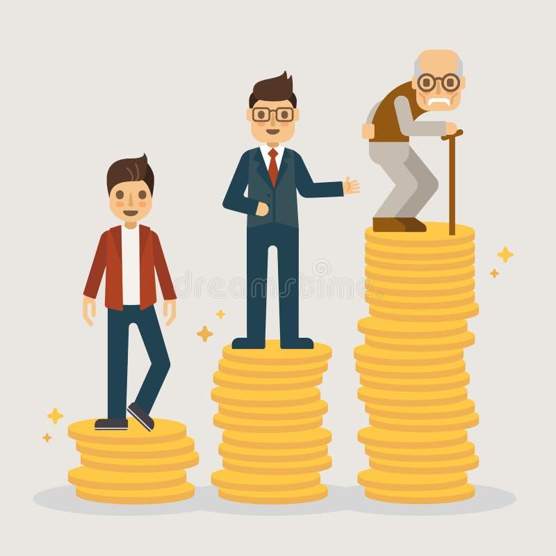 Piano dei soldi di pensionamento Illustrazione finanziaria di concetto illustrazione di stock