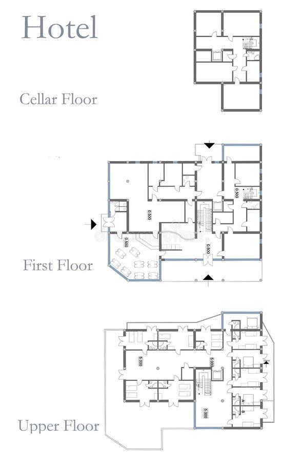 Piano del disegno dell 39 hotel illustrazione di stock for Disegno del piano di architettura