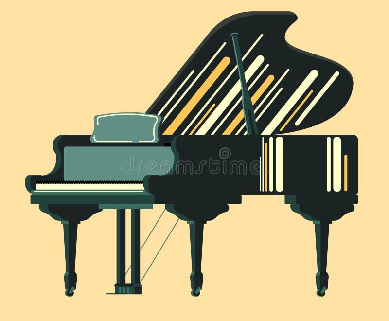 Piano del nero dello strumento di Musicial illustrazione di stock