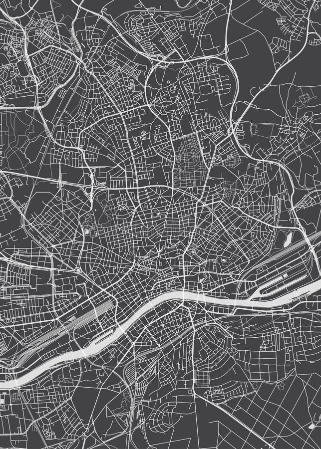 Piano della città di Francoforte sul Meno, mappa dettagliata di vettore illustrazione vettoriale