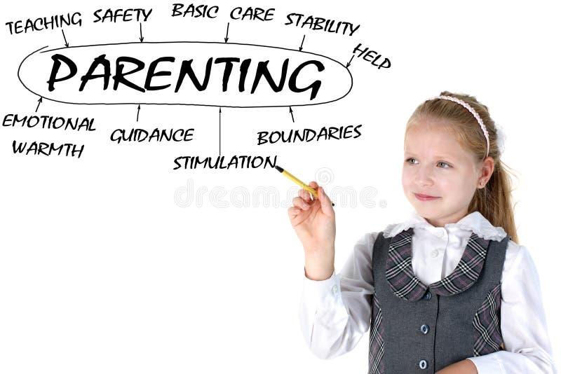 Piano della ragazza w della scuola del parenting immagini stock libere da diritti