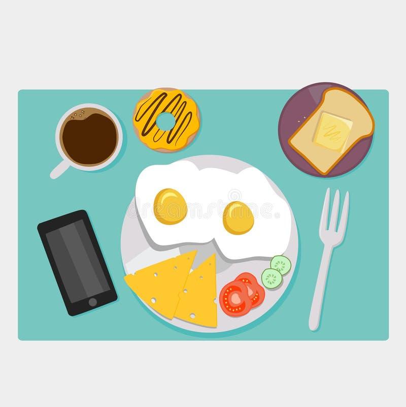Piano delle icone della prima colazione messo con tempo del caffè royalty illustrazione gratis