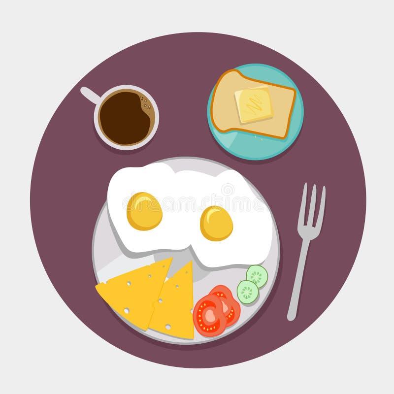 Piano delle icone della prima colazione messo con tempo del caffè illustrazione vettoriale
