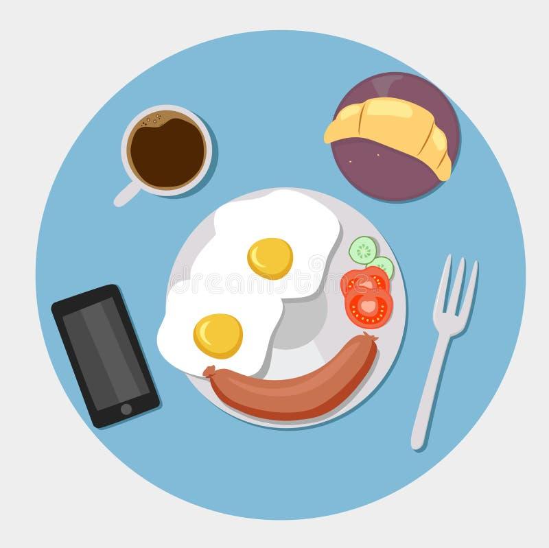 Piano delle icone della prima colazione messo con tempo del caffè illustrazione di stock