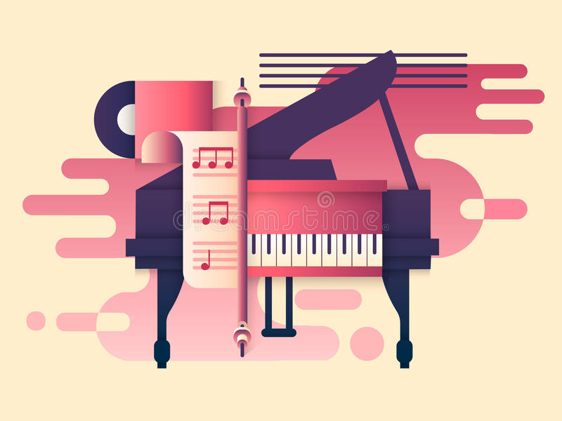 Piano design flat. Music instrument, play keyboard, classic concert, classical sound melody, vector illustration stock illustration