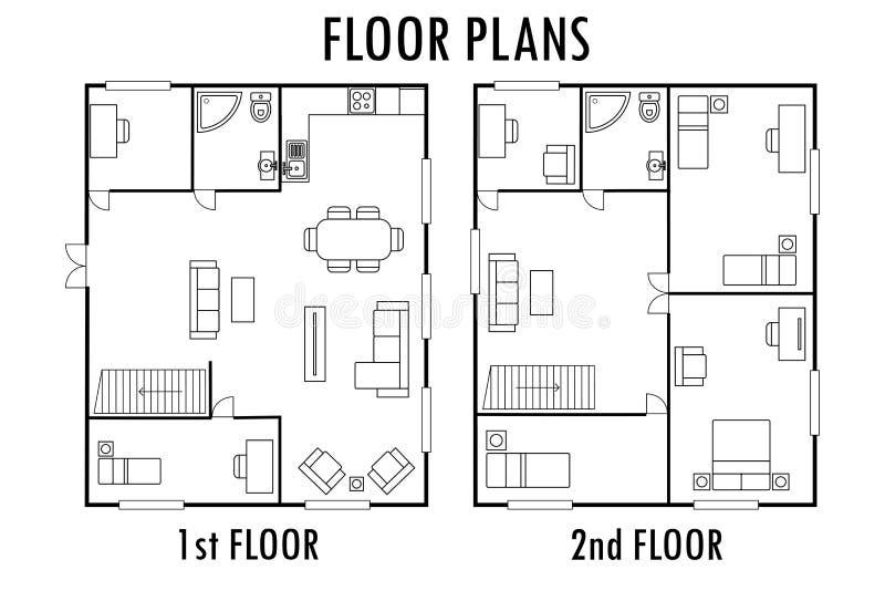 Piano di architettura con mobilia Alloggi in primo luogo e secondo piano p royalty illustrazione gratis