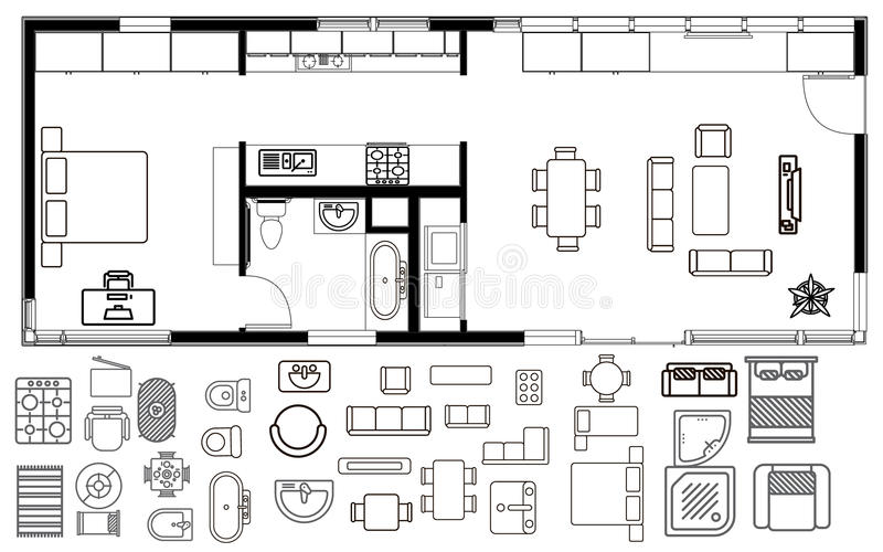 Piano di architettura con mobilia nella vista superiore illustrazione di stock