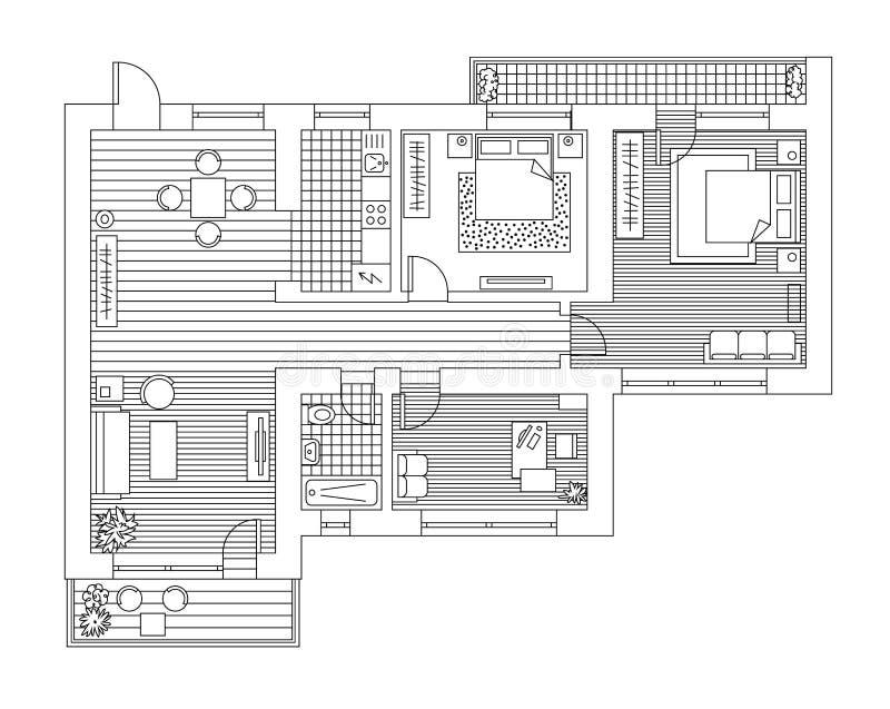 Piano di architettura con mobilia nella vista superiore Libro di coloritura illustrazione vettoriale