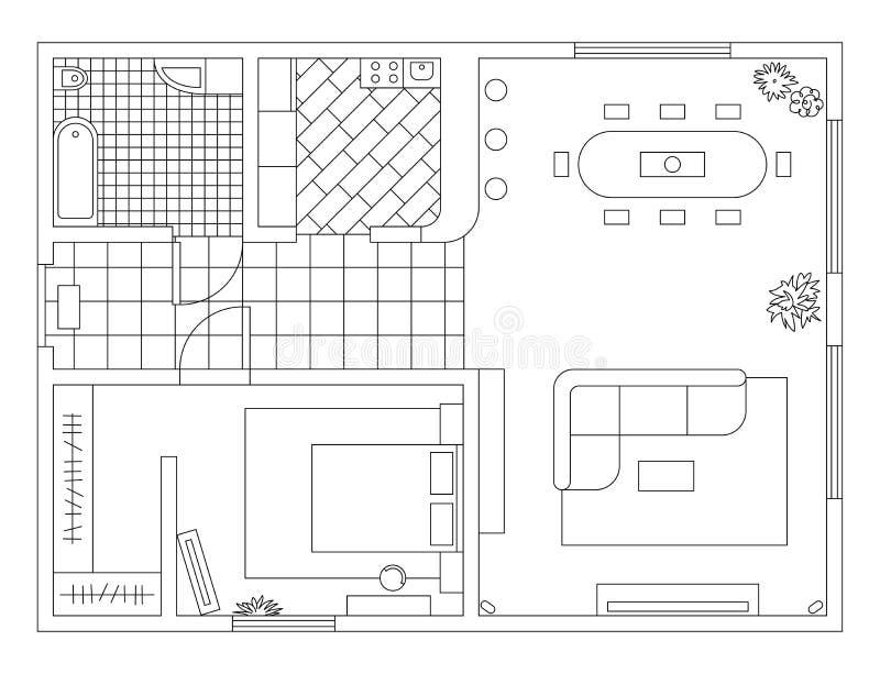 Piano di architettura con mobilia nella vista superiore Libro di coloritura illustrazione di stock