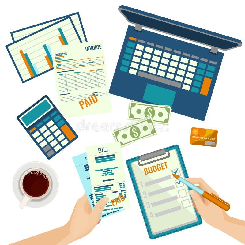 Piano di bilancio le mani e le carte umane sull'illustrazione di vettore royalty illustrazione gratis