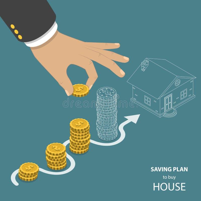 Piano di risparmio per comprare casa concetto isometrico piano di vettore illustrazione vettoriale