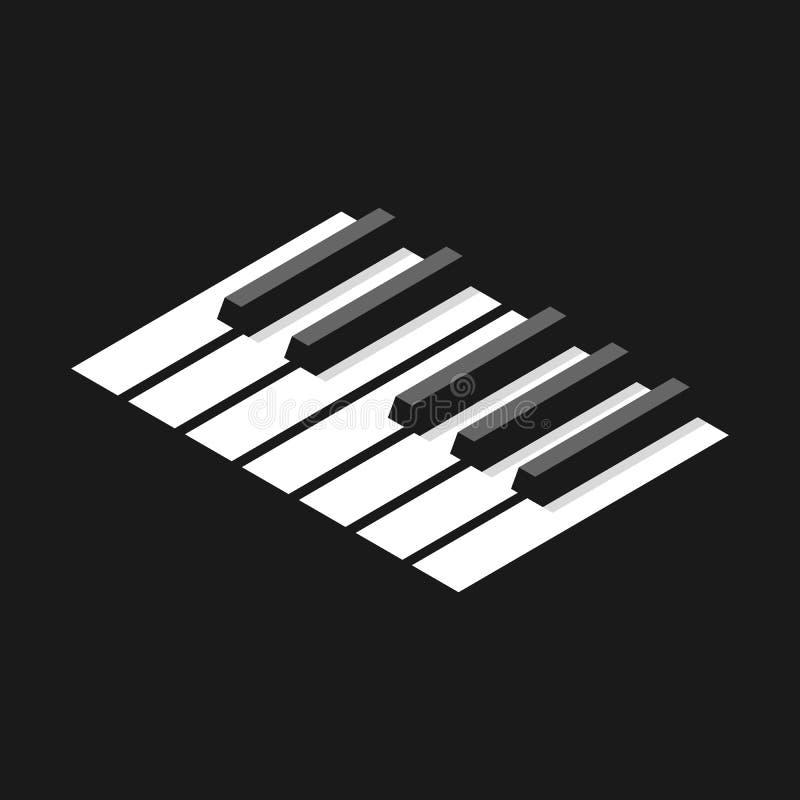 Piano do teclado no grayscale ilustração stock