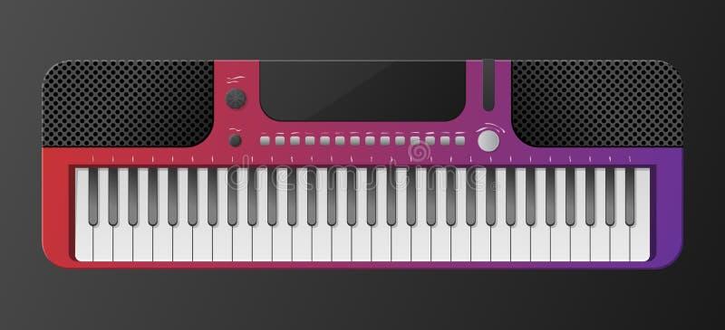 Piano eléctrico aislado de fondo oscuro. Teclado piano instrumentos musicales. Sintetizador de la m?sica. Estilo de degradado de  stock de ilustración