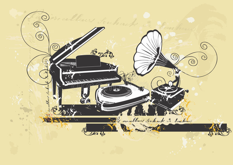 Piano en draaischijven vector illustratie