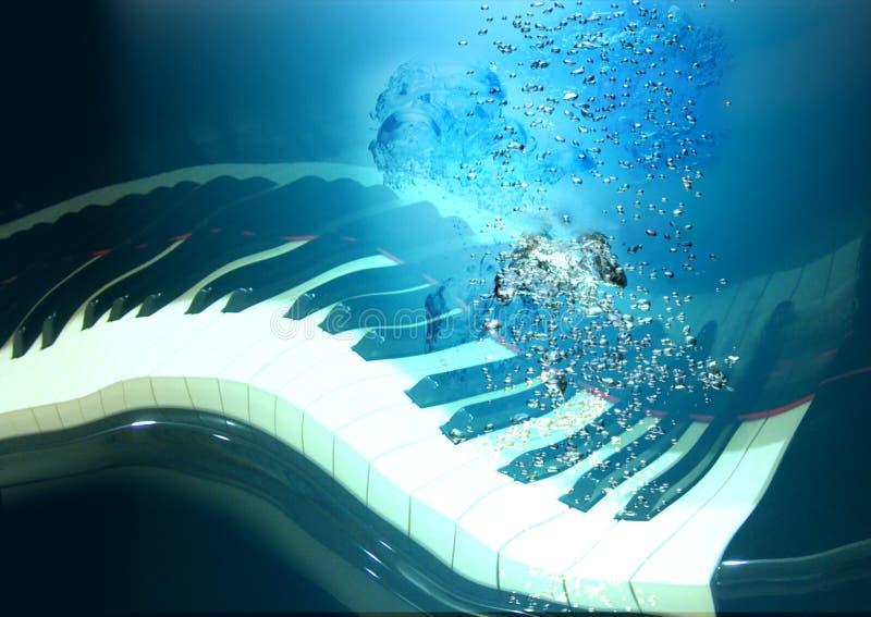 Piano en el agua profunda stock de ilustración
