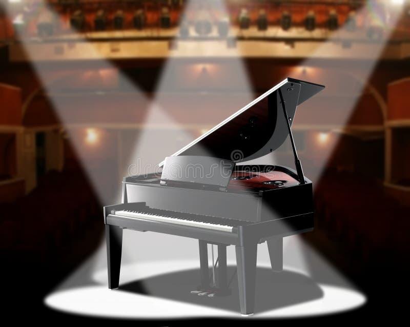 Piano en el salón de conciertos ilustración del vector