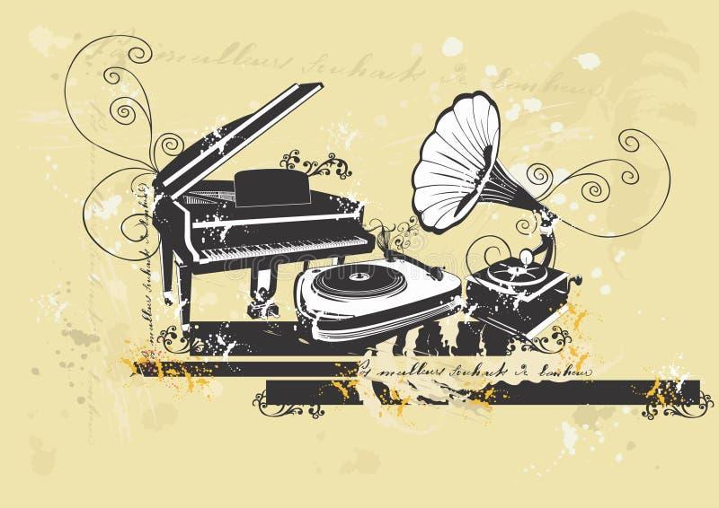 Piano et plaques tournantes illustration de vecteur