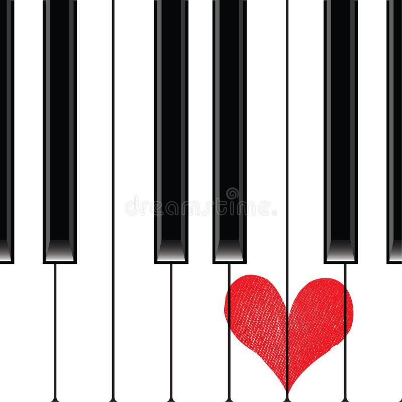 Piano för hjärtaförälskelsemusik vektor illustrationer