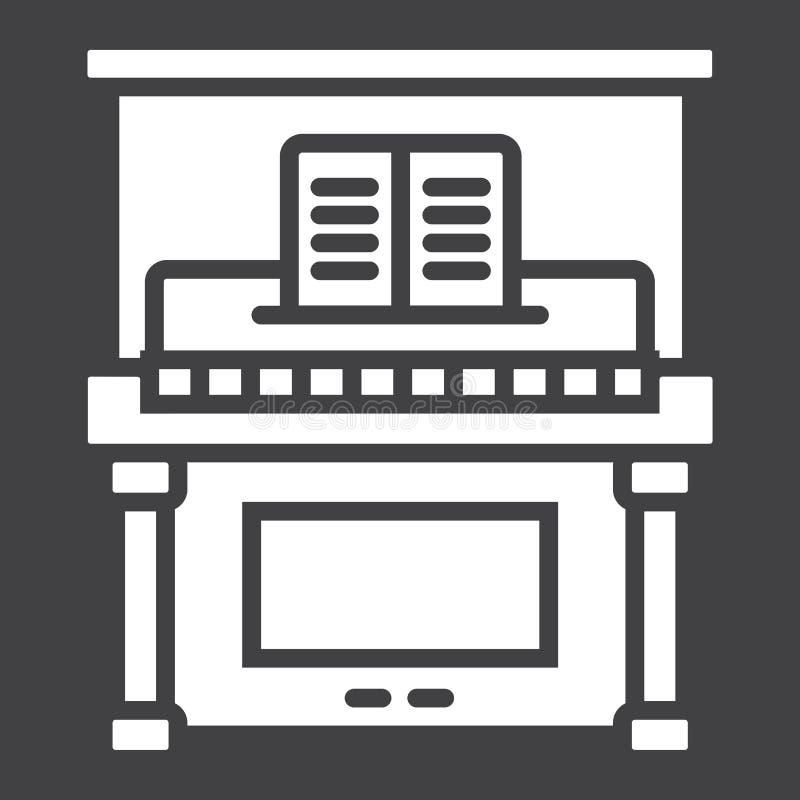 Piano glyph pictogram, muziek en instrument vector illustratie
