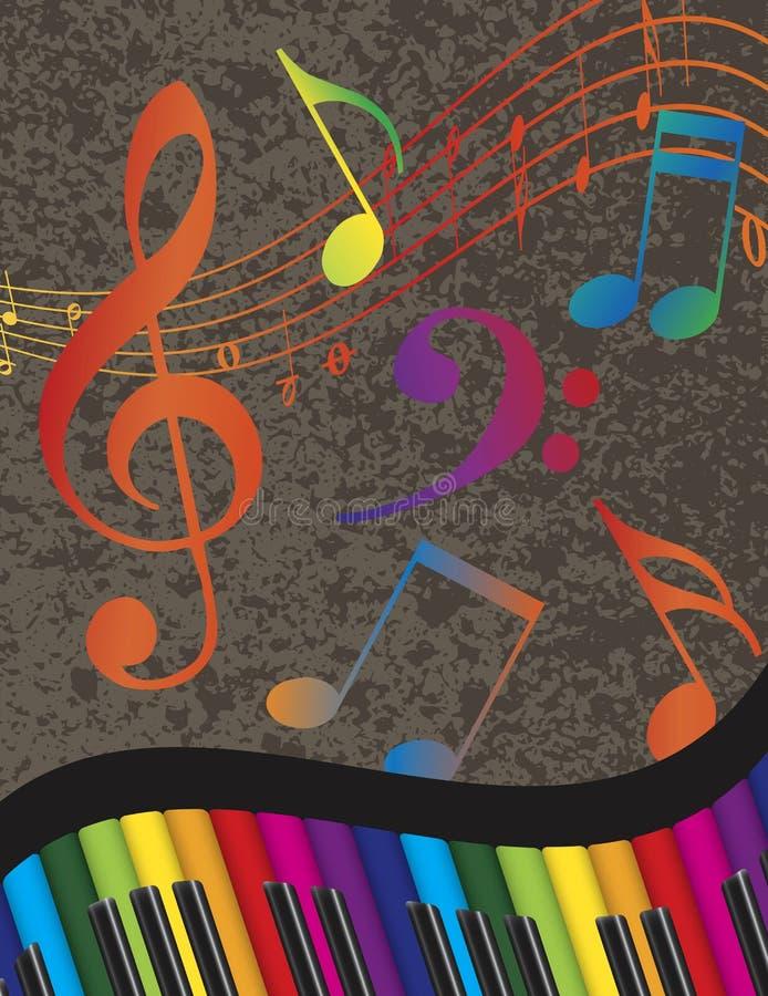 Piano Golvende Grens met Kleurrijke Sleutels en Muzieknota royalty-vrije illustratie