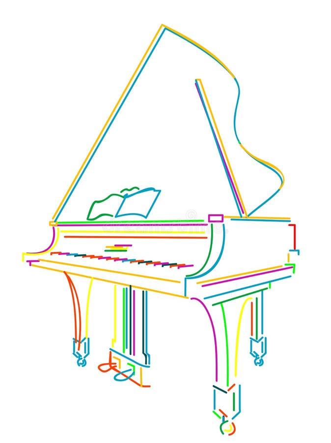 Piano grande sobre o branco ilustração stock