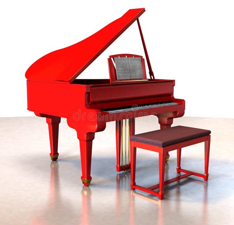 Piano grande vermelho ilustração royalty free