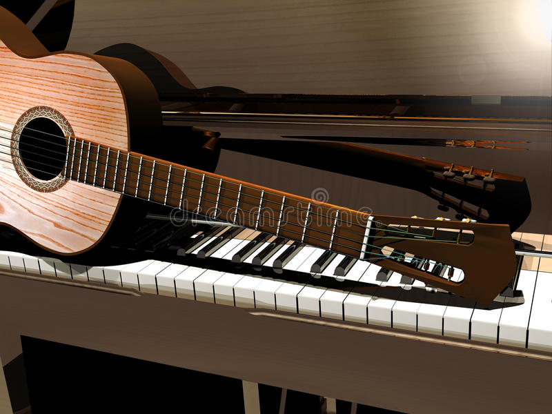 Download Piano and guitar stock illustration. Image of background - 20605644