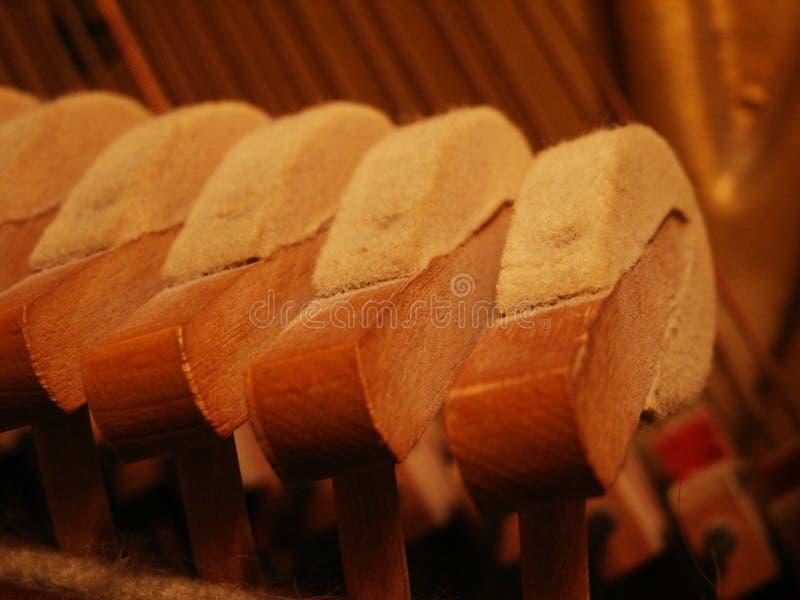 Piano hammers macro stock image