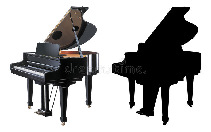 Piano illustration. Piano vector illustration in 2 versions, both editable: Color and Black/white options, EPS format available royalty free illustration