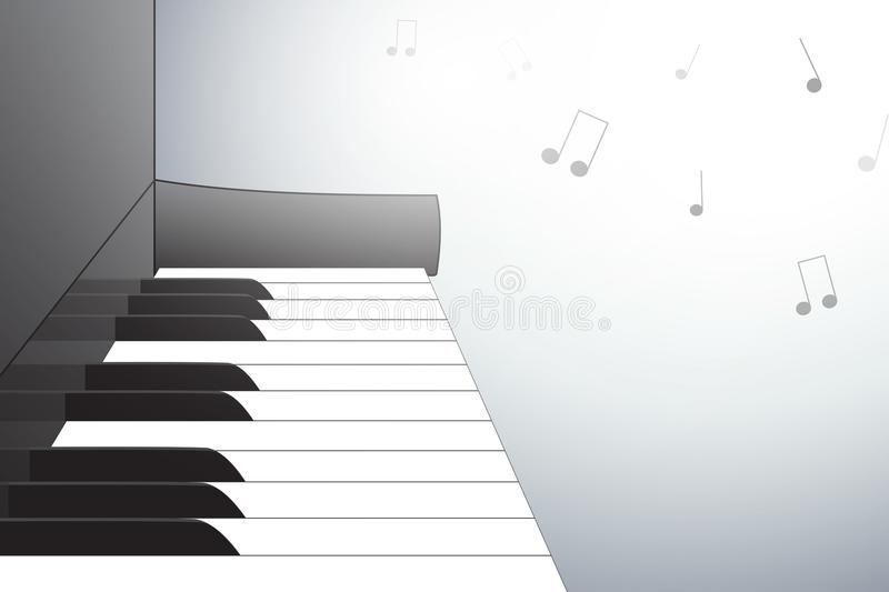 Piano illustration from side view, with musical notes. stock illustration