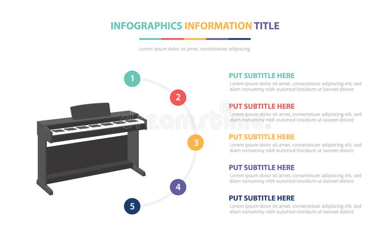 Piano infographic template concept with five points list and various color with clean modern white background - vector. Illustration stock illustration