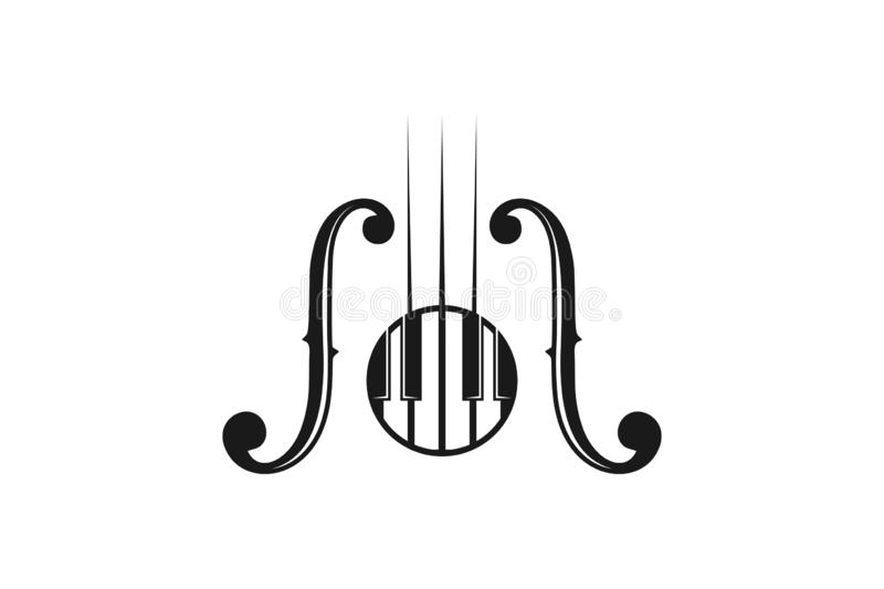 piano, instrument, musical logo Designs Inspiration Isolated on White Background. royalty free illustration