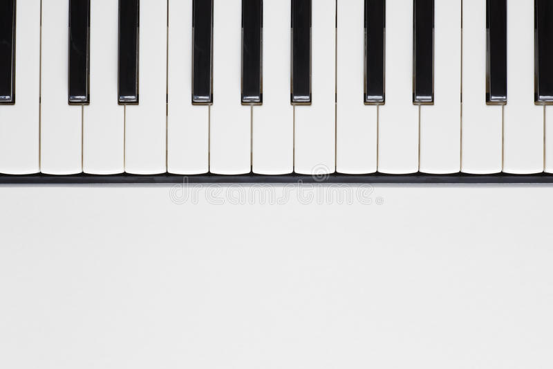Piano keyboard. View from above of a piano keyboard on the upper half of frame. Copy space on the lower half royalty free illustration