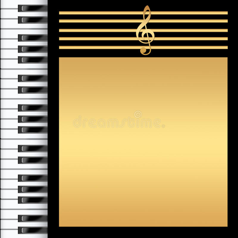 Piano Keyboard. Black and gold Background stock illustration
