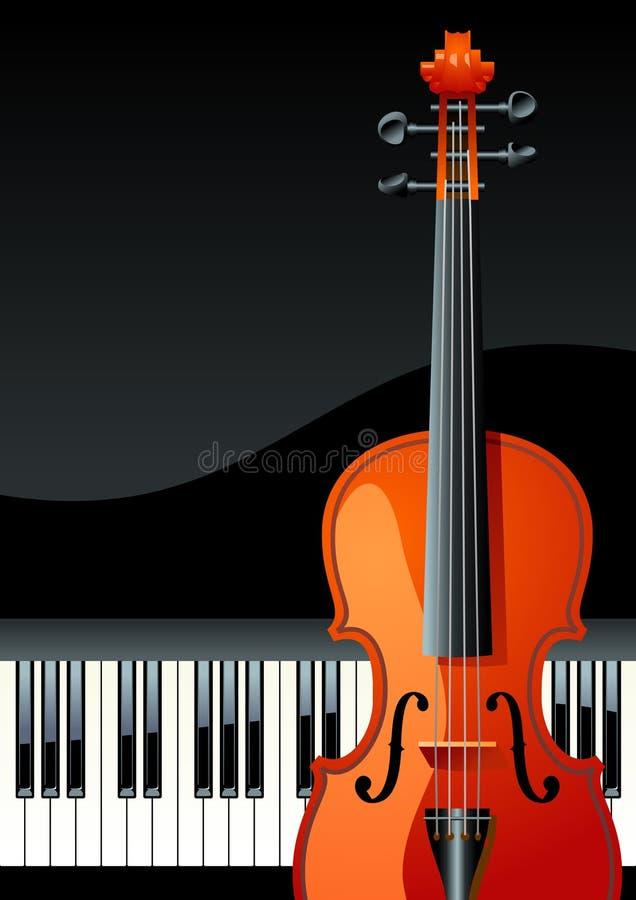 Piano keyboard. Violin and piano, vector illustration royalty free illustration