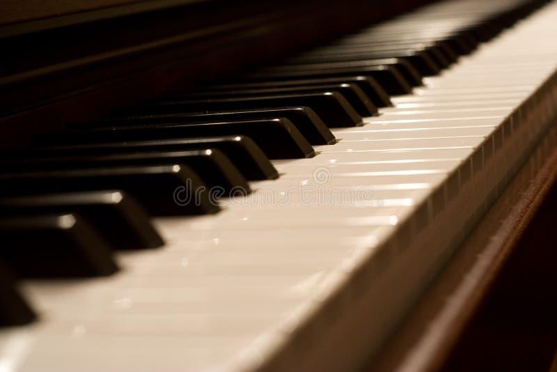 Piano keyboard. Grand piano keyboard side view stock photos