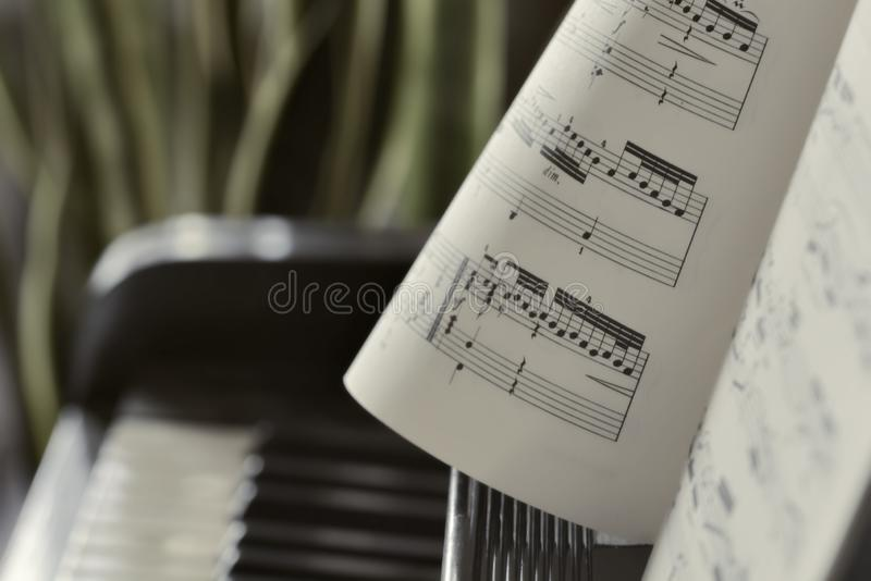 Piano keyboard background with selective focus. Warm color toned image Warm color toned image royalty free stock photo
