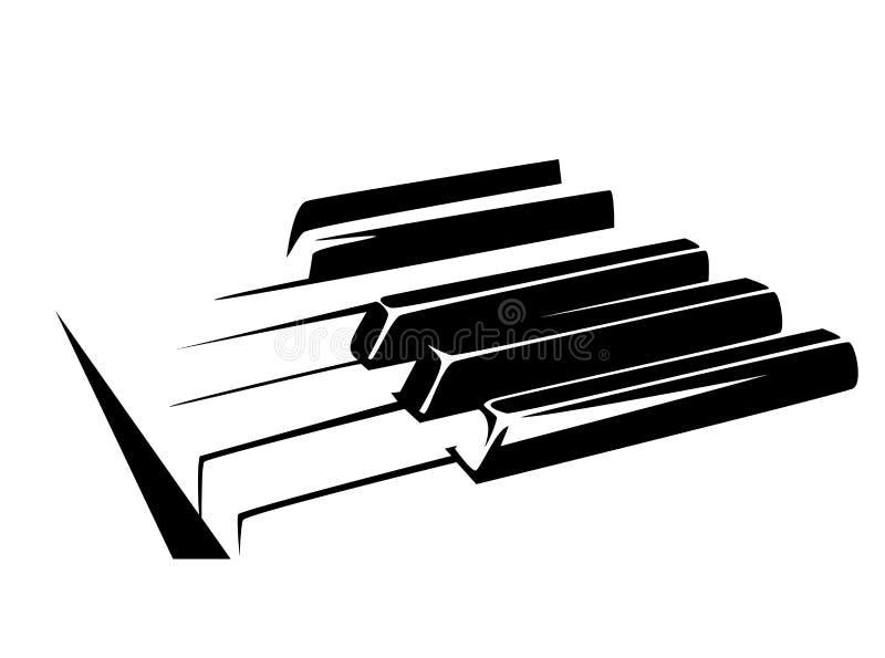 Piano keyboard black vector design. Piano keyboard simple black and white vector design stock illustration