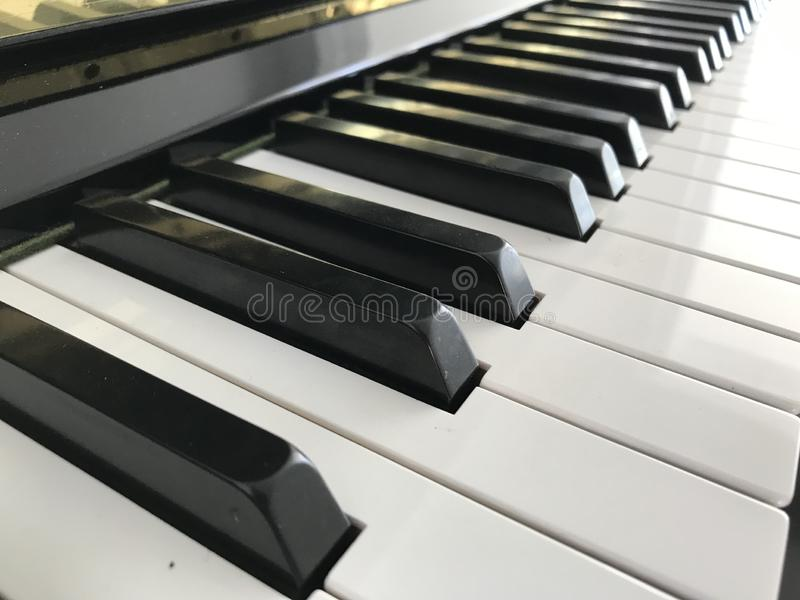 Piano keyboard black and white. Music stock image