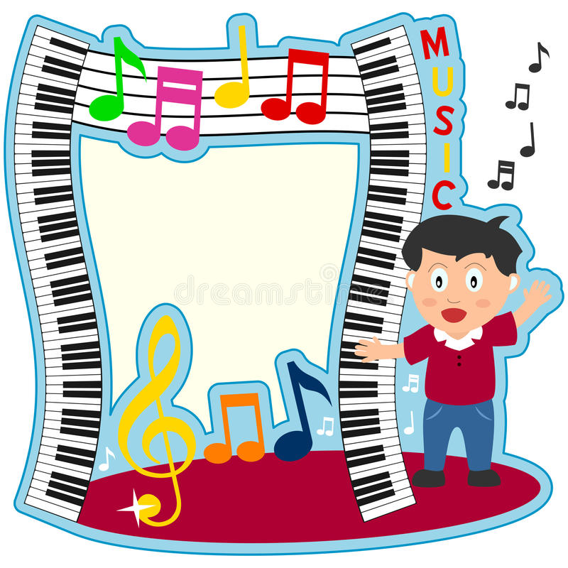 Piano Keyboard Boy Photo Frame royalty free illustration