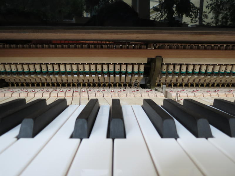 Piano keyboard close up with mechanics stock photos