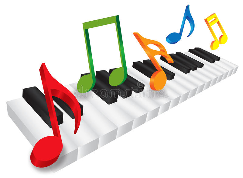 Piano Keyboard and 3D Music Notes Illustration