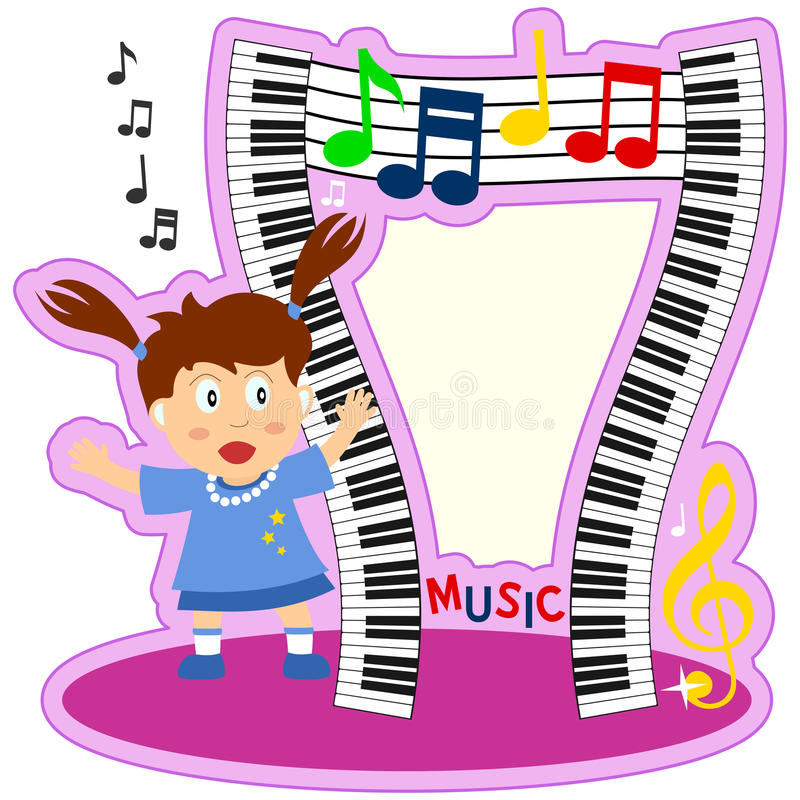 Piano Keyboard Girl Photo Frame. A funny cartoon photo frame with a girl, wavy piano keyboards and musical notes. Eps file available royalty free illustration