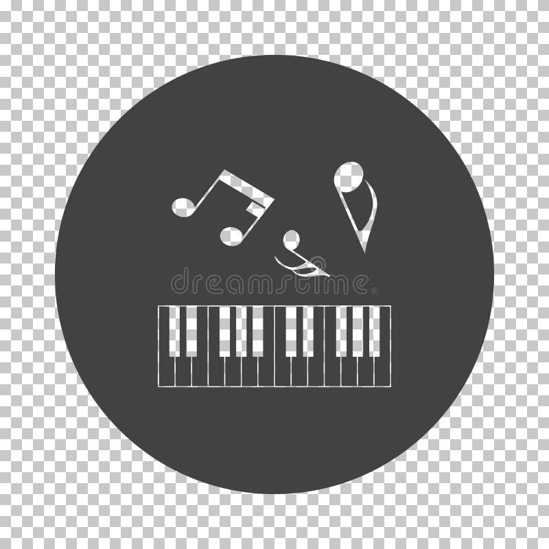 Piano keyboard icon. Subtract stencil design on tranparency grid. Vector illustration stock illustration