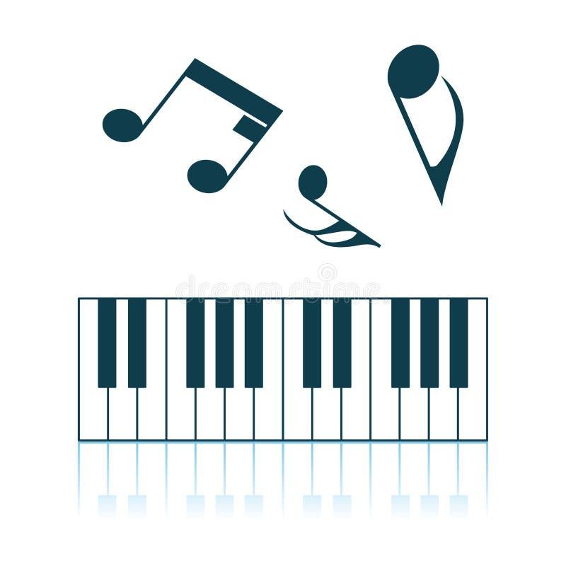 Piano Keyboard Icon. Shadow Reflection Design. Vector Illustration royalty free illustration