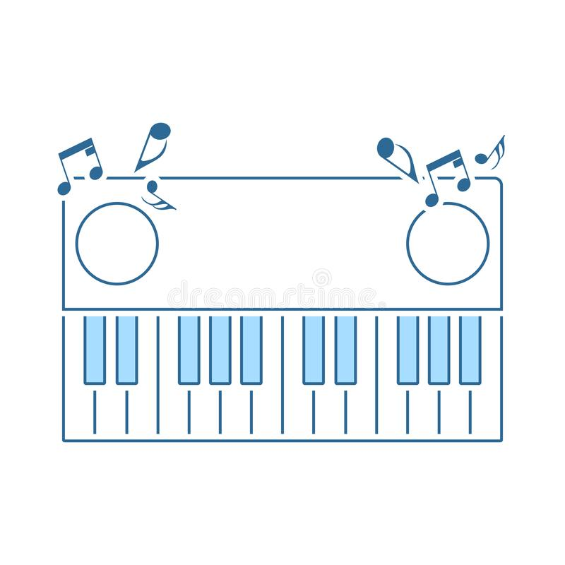 Piano Keyboard Icon. Thin Line With Blue Fill Design. Vector Illustration stock illustration