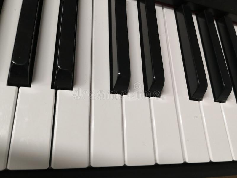 Piano keyboard keys close-up one octave royalty free stock photography